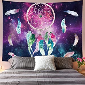 Galoker Dreamcatcher Tapestry Colorful Feather Tapestry Space Tapestry Galaxy Tapestry Psychedelic Tapestry Red Green Starry Sky Art Tapestry Wall Hanging for Home Decor
