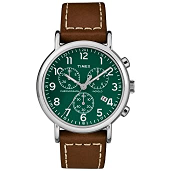 9ac586e54 Timex Men's TW2T29100 Weekender Chrono Brown/Green Two-Piece Leather Strap  Watch