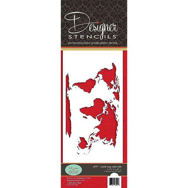 Plantilla para tarta con mapa del mundo C977 por Designer Stencils ...