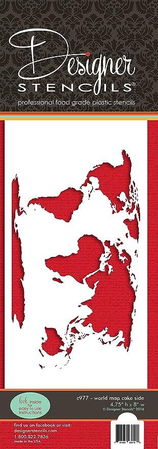 Designer stencils world map cake stencil c977 amazon kitchen designer stencils world map cake stencil c977 gumiabroncs Images