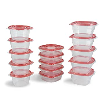 Plastic Reusable Clear Storage Food Containers With Leak Proof Lids   Set  Of 15 Pieces