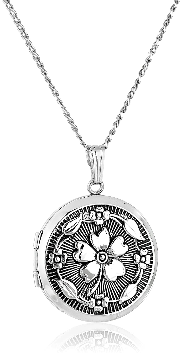 Sterling Silver Embossed Antique-Finish Locket Necklace, 20 20 Amazon Collection AMZ992F