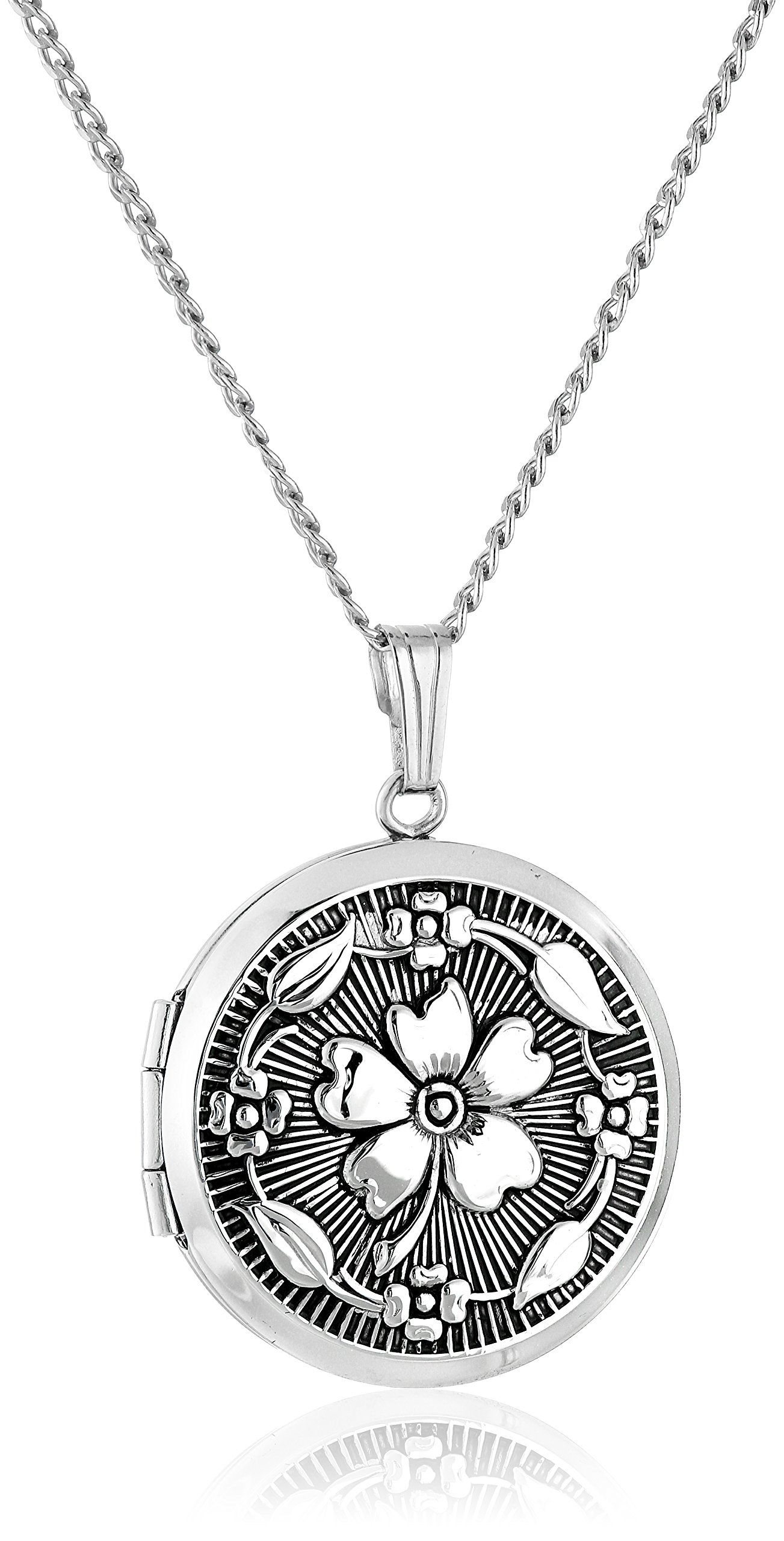 Sterling Silver Embossed Antique-Finish Locket Necklace, 20''