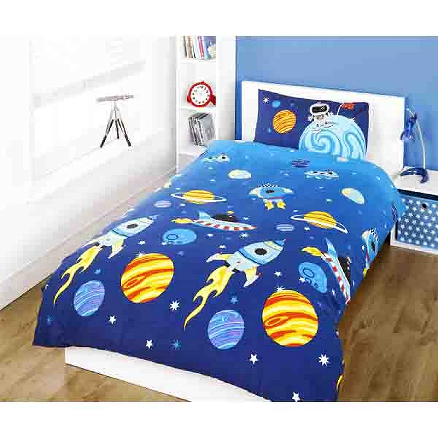 KIDS BOYS TWIN BLUE OUTER SPACE PLANETS COTTON DUVET SET QUILT COVER