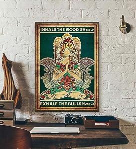 Vintage Wall Decor Aesthetic Yoga Poster Inhale The Good Shit Exhale The Bullshit Yoga Prints Poster Vintage Posters Wall Decoration Signs For Home