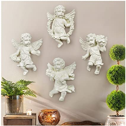 Ownstyle Cherub Wall Sculptures Angel Design Ornaments Wall Hanging Homing  , 4 Piece (Angel,