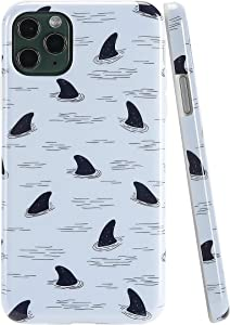 SunshineCases Shark iPhone Case (Compatible: Apple iPhone 11 Pro Max Case) Slim, Cute and Protective Phone Case Cover for Men, Women & Girls, Easy to Grip (Navy Blue Shark Fins)