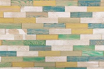 Wodewa Holz Wandverkleidung 3D Vintage Optik I Eichenholz Bunt I 1m²  Nachhaltige Echtholz Wandpaneele I
