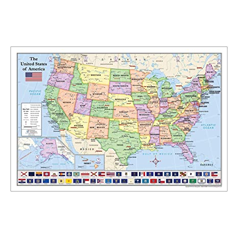 Amazon.com : United States (USA) Map with State Flags for ...
