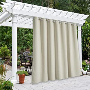 NICETOWN Outdoor Divider Curtain Waterproof for Patio 84 inch Length, Vertical Blinds Blackout Thermal Insulated Stainless Steel Grommet Top Slider for Outdoor Living, Beige, 1 Panel, W100 x L84