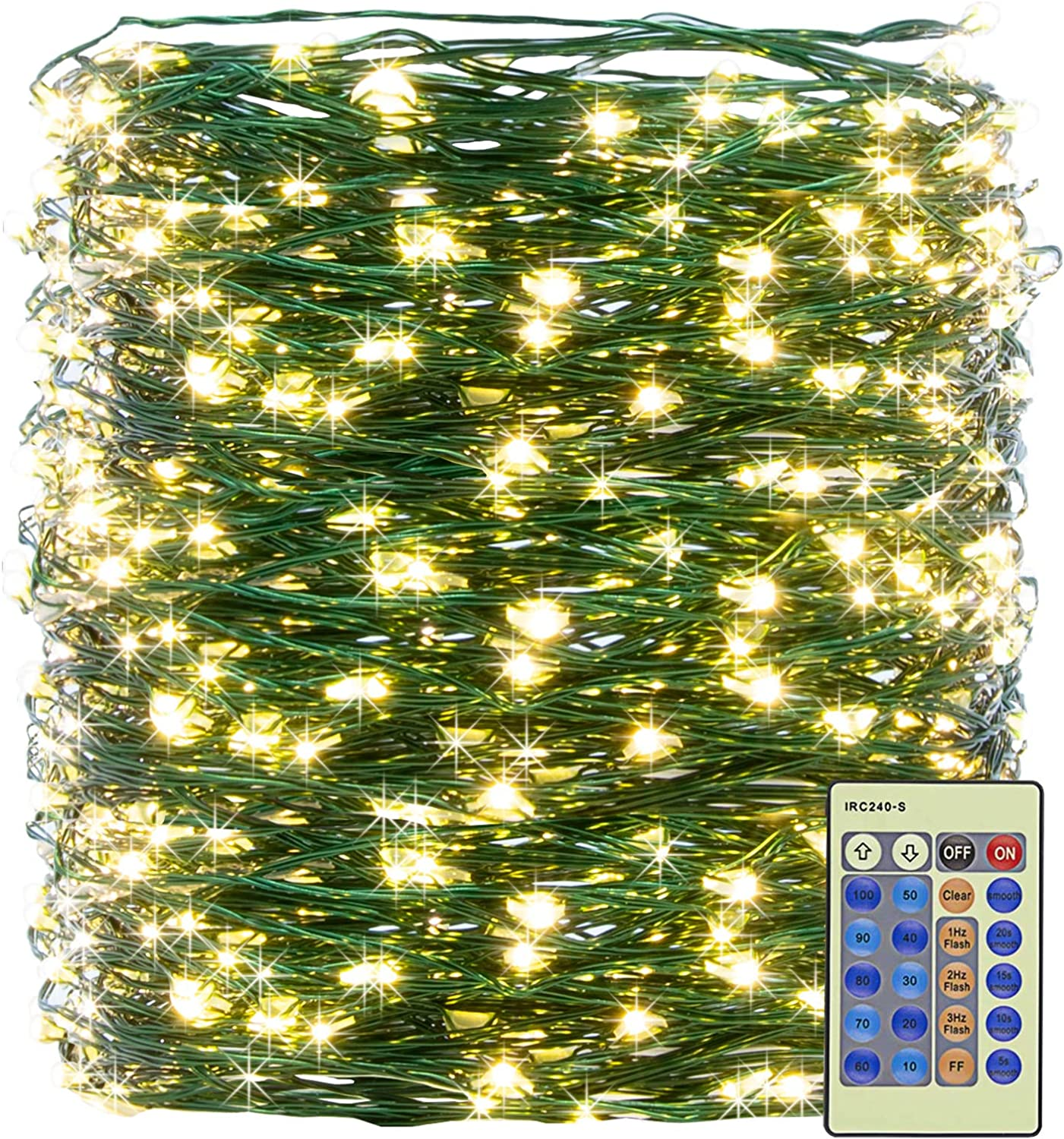 XUNXMAS 500LED Warm White Christmas String Lights 165ft Green Wire Dimmable with Remote Control, UL Certified Waterproof Fairy Lights for DIY Bedroom Patio Party Christmas Tree Indoor Outdoor Decor
