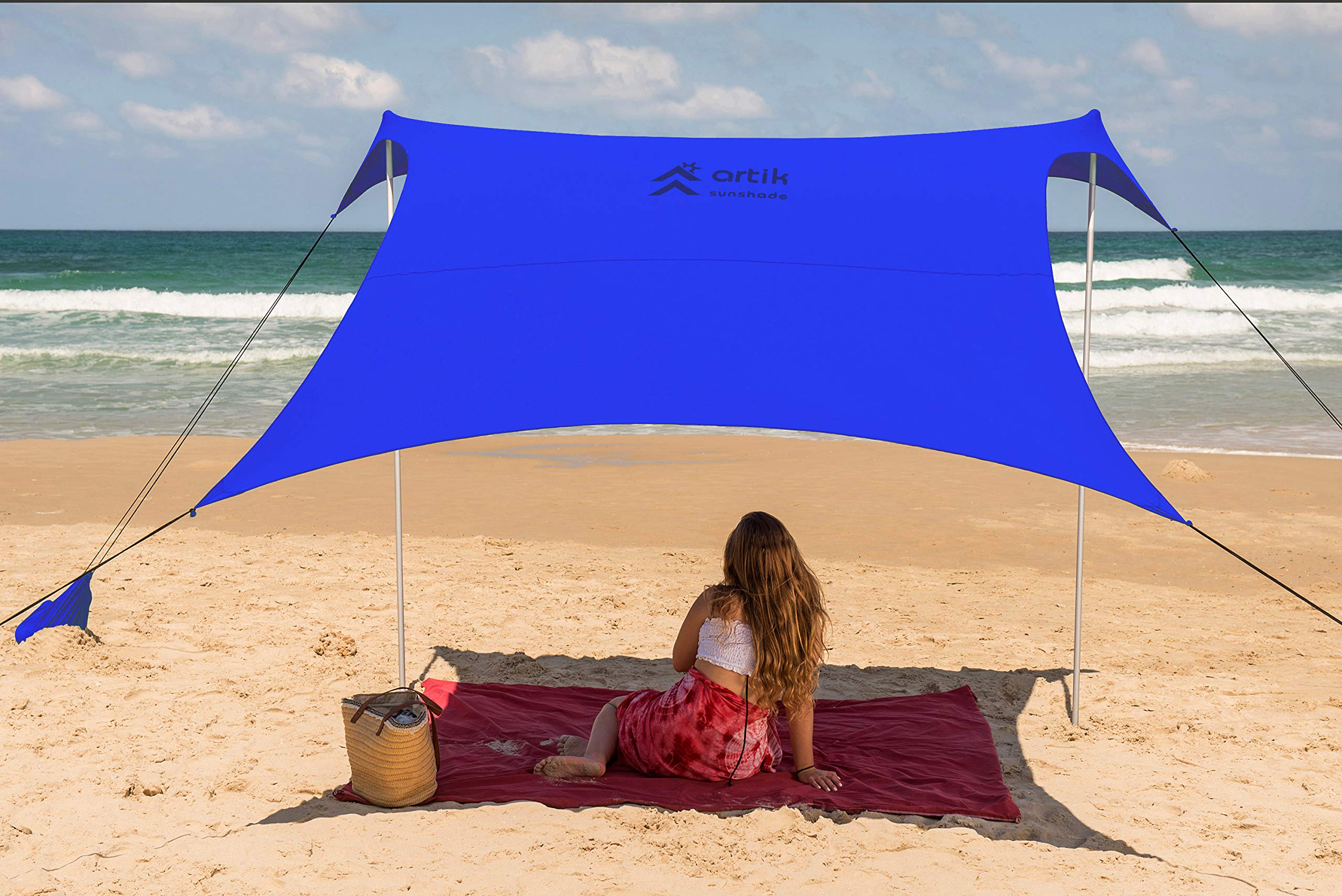 Beach Tent Sunshade Family Size 9.8'X9.8', 7ft Tall with Sandbag Anchors, Simple & Versatile. SPF50, Lycra SunShelter for The Beach,Camping and Outdoors. (Royal Blue, Large) by ARTIK SUNSHADE