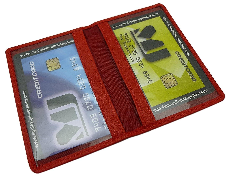 Cuir de veau porte cartes de crédit MJ-Design-Germany en 3 différentes couleurs (Rouge)