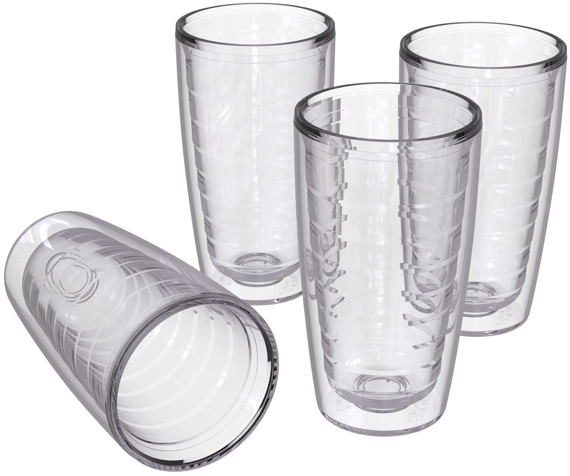 4-pack Insulated Tumblers 16 Ounce - BPA-Free - Made in USA - Clear (16oz Insulated Cups) by Homestead Choice