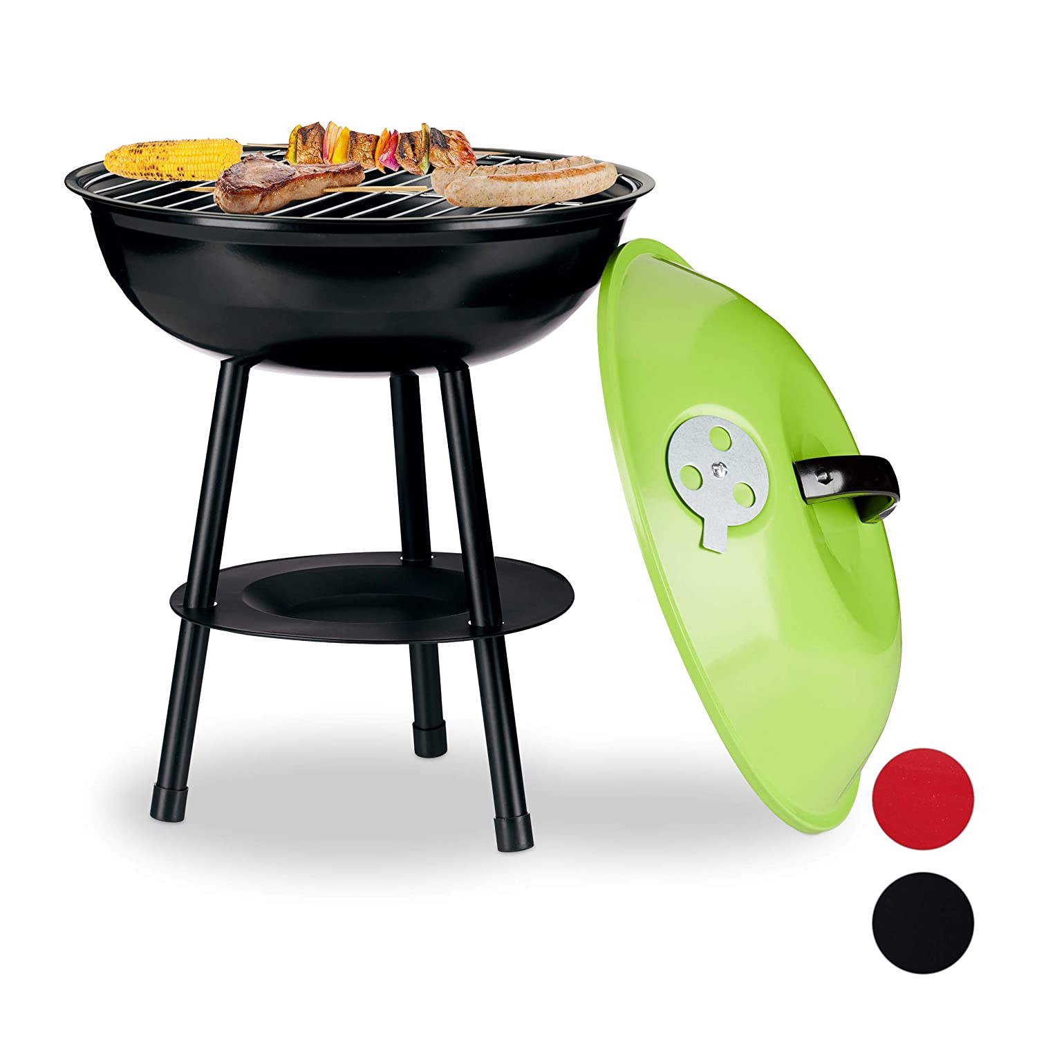Relaxdays /Ø 36cm Kettle BBQ with Cover and Ventilation Small Charcoal Grill for Garden and Park Ash Tray Black