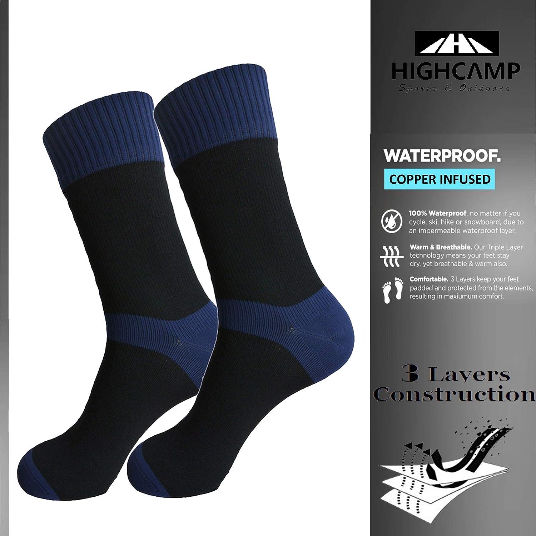 Copper  Navy HIGHCAMP [SGS Certified] Waterproof Socks for Men & Women  Copper Infused Waterproof Hiking Trekking Boot Socks