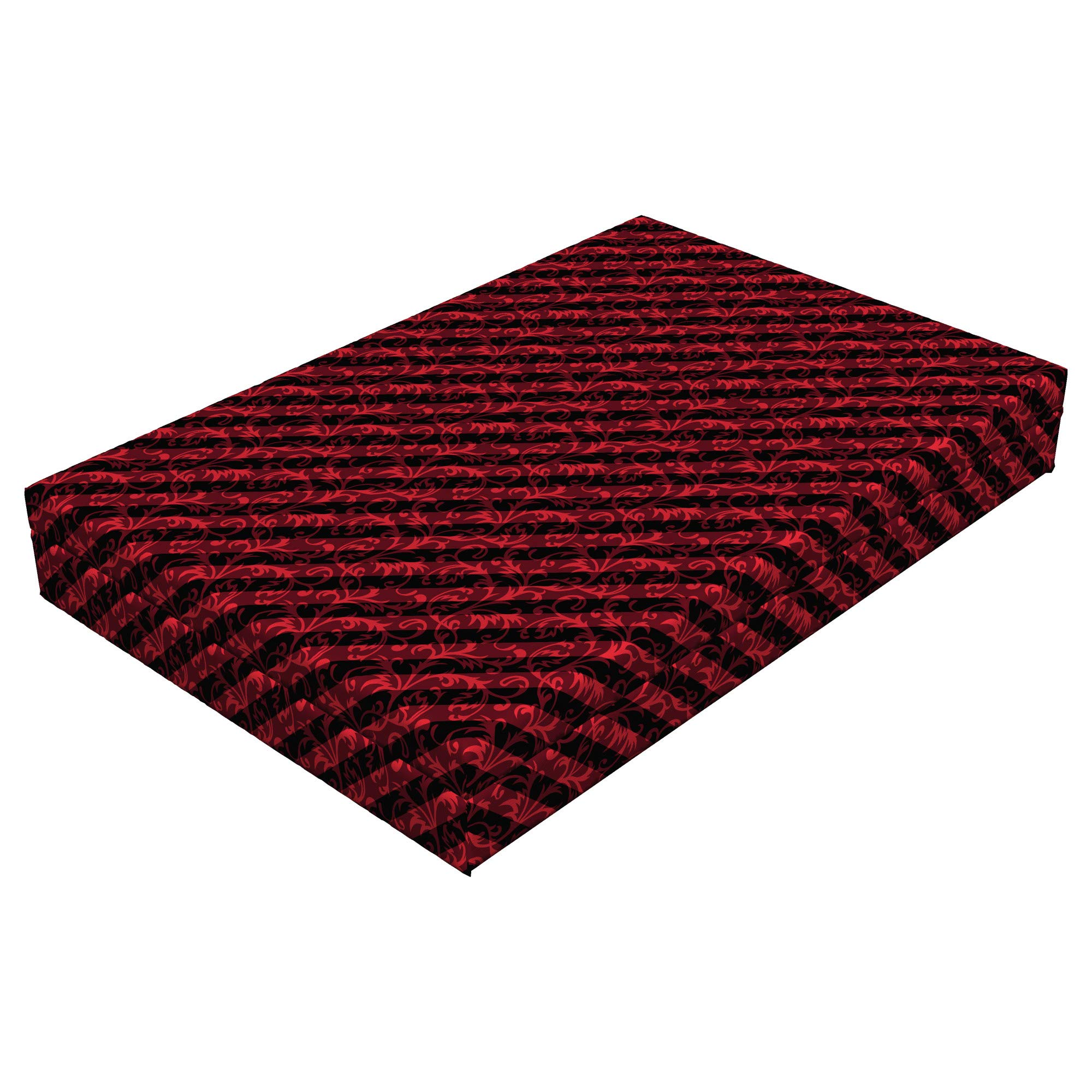 Lunarable Abstract Dog Bed, Swirled Curved Leaves Background with Parallel Classical Striped Lines Retro Print, Durable Washable Mat with Decorative Fabric Cover, 48'' x 32'' x 6'', Black Red