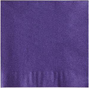 MM Foodservice 2- Ply Cocktail Napkins, Beverage Paper Napkins, Set of 250 (Purple)