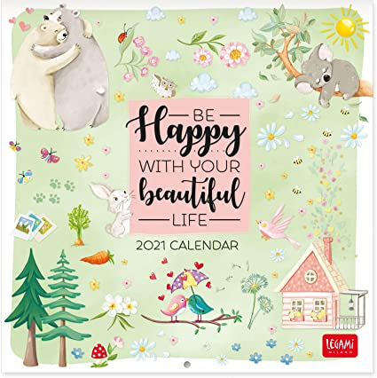 Legami   Calendario 2021 da Parete, HAPPY, 18X18 CM: Amazon.it