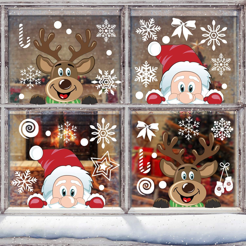 JFAN 8 Hojas Pegatinas Ventana Navidad Santa Muñeco de Nieve Alce de la Puerta Pegatinas Navidad Cristal Decoración de la Ventana Reutilizable Bricolaje Pegatinas Electrostáticas Calcomanías Ventanas