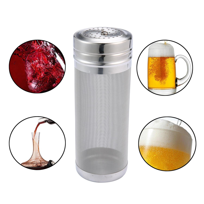 niceeshop(TM) Beer Dry Hopper Filter,Home Brewing Stainless Steel Micron Mesh Beer Filter Cartridge,Silver,7x18cm