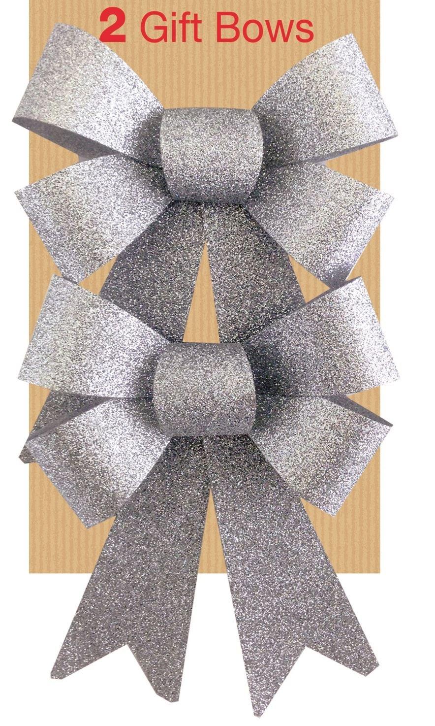 2 Silver Glitter Ribbon Bows Christmas Decoration Present Family Celebration Christmas Tree Festive Birthday Wedding Wrapping Hampers Concept4u