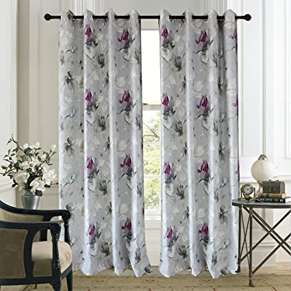 Purple Flower Grey Curtains Drapes   Anady Top 2 Panels Blue Floral Leaf Living  Room Curtains