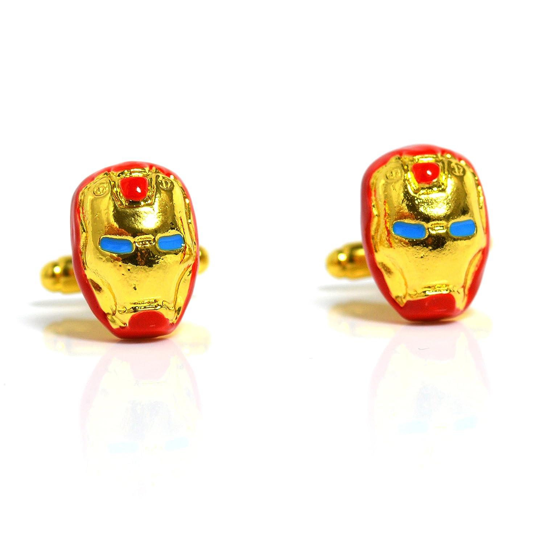 Iron Man Super Hero Motif boutons de manchettes Chemise pour homme Paire de boutons de manchette RJ