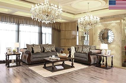 Amazon Com Esofastore Classic Design Sofa Loveseat 2pc Sofa Set