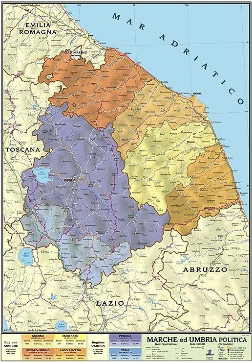 Marche Cartina.Carta Geografica Murale Regionale Marche Umbria 100x140 Bifacciale Fisica E Politica Amazon It Cancelleria E Prodotti Per Ufficio