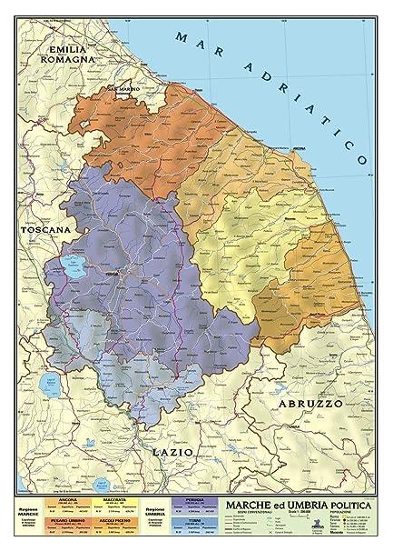 Cartina Geografica Marche.Carta Geografica Murale Regionale Marche Umbria 100x140 Bifacciale Fisica E Politica