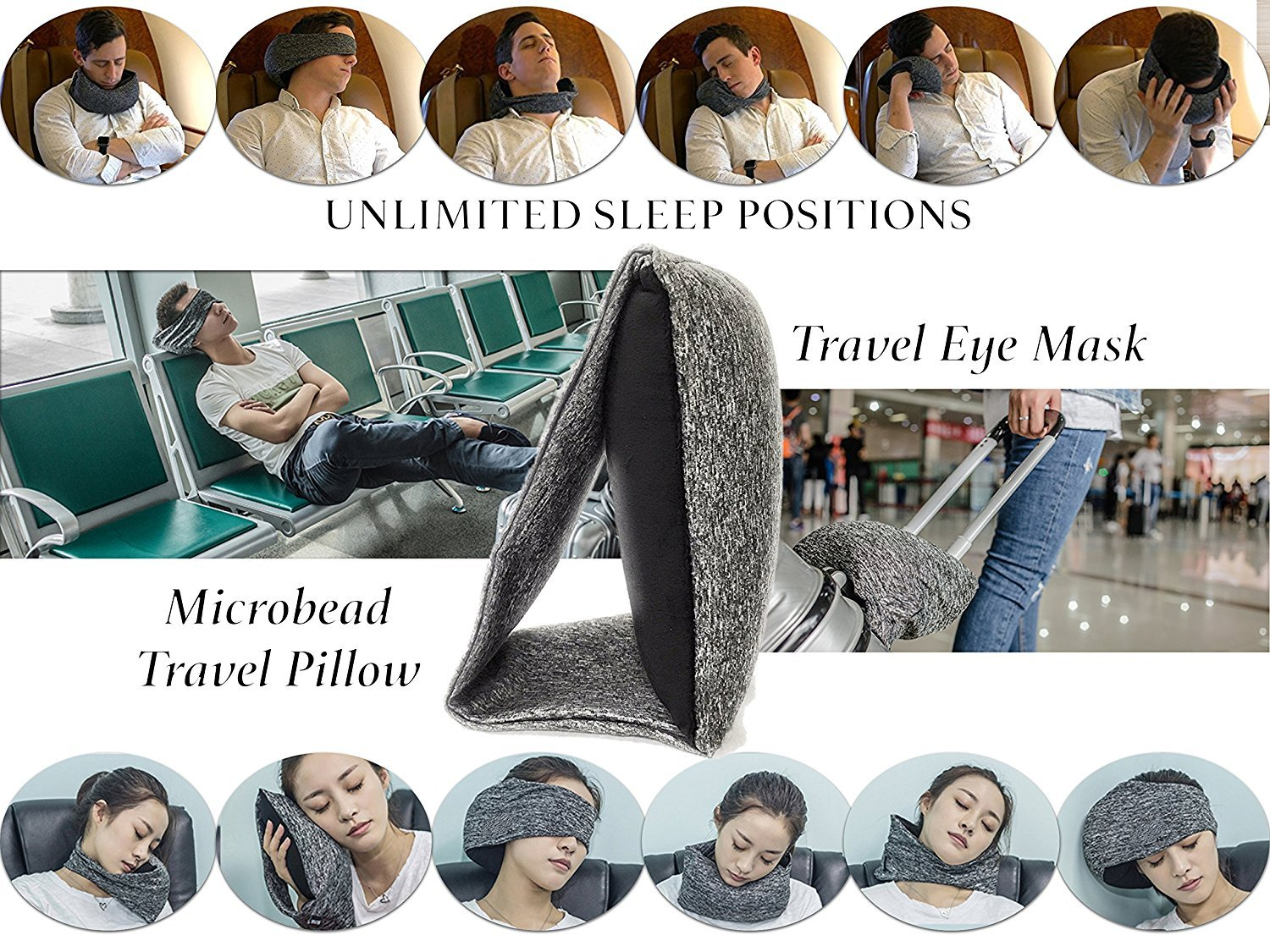 Eye Mask Travel Pillow - Super Pillowy & Easy Carry For Flights,Cars Sleep Easy in Any Position