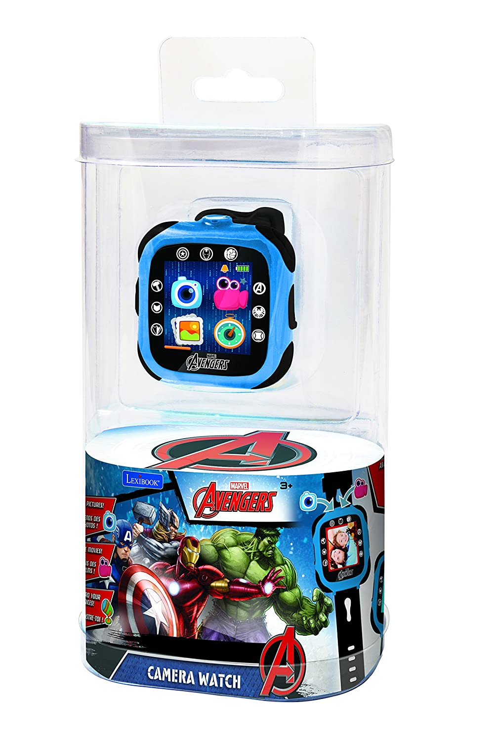 Lexibook Marvel The Avengers Iron Man Camera Watch, Smartwatch with Camera,  0 3MP, Touch Screen, Rechargeable Battery, Blue/Black, DMW100AV
