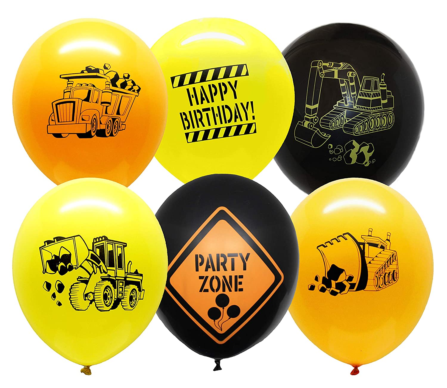 Construction Party Supplies - 30 Construction Themed Balloons - 12 Construction Zone Party Balloons - Perfect for Builder Themed Parties! Jade' s Enterprises