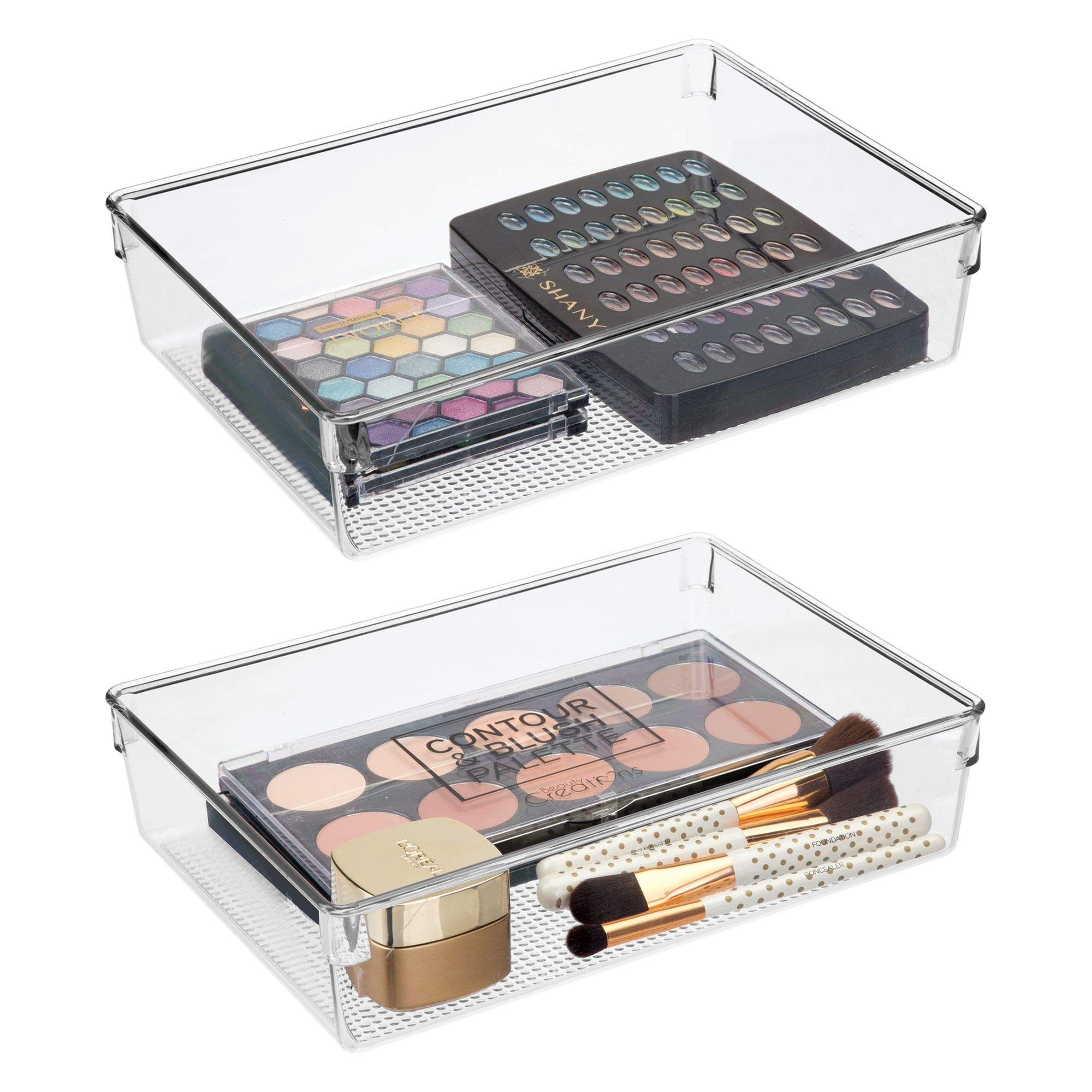 mDesign Bathroom Vanity Drawer Storage Organizer Plastic Bins Trays Holders for Cosmetics, Makeup Palettes, Brushes - Pack of 2, Clear