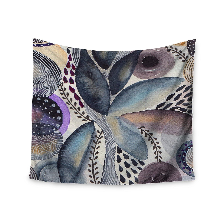 Kess InHouse Li Zamperini Organic Blue Multicolor Watercolor 68 x 80 Wall Tapestry
