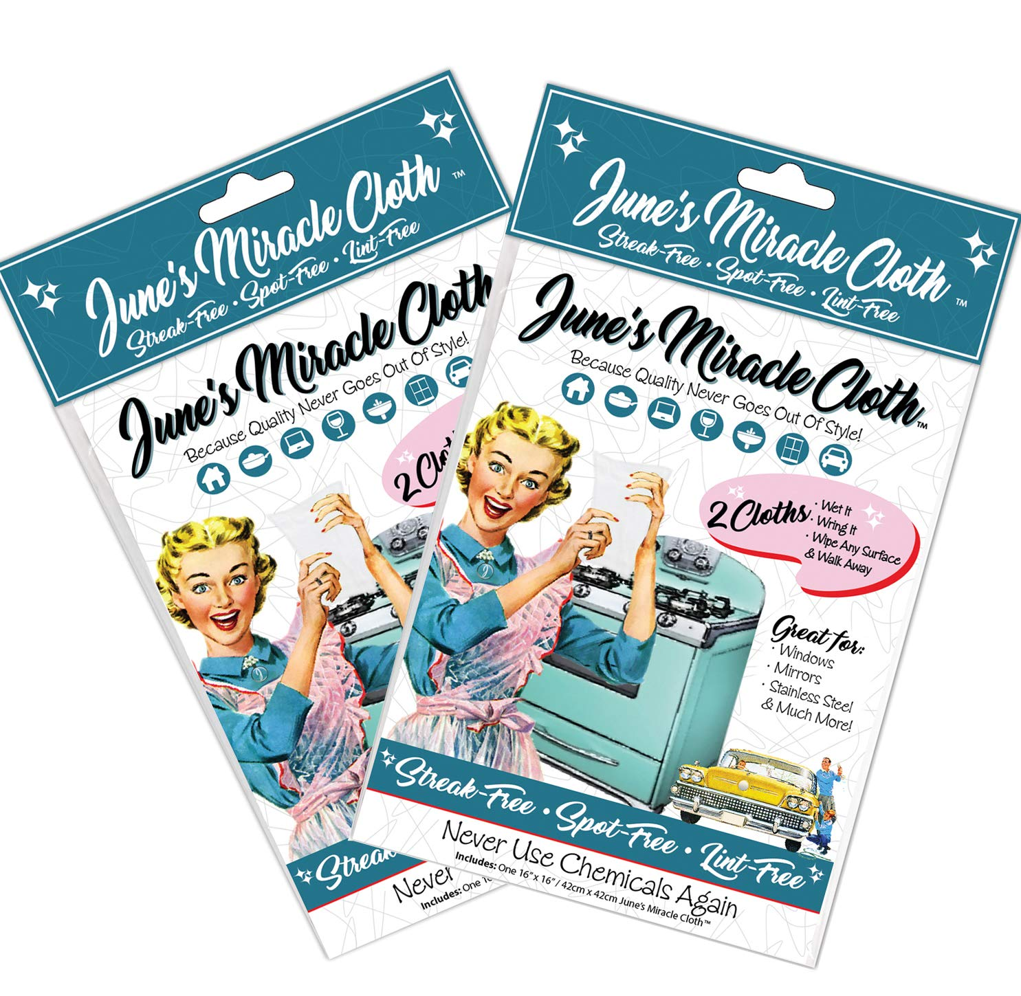 Home Spirit June's Miracle Cloth, Streak Free Microfiber Cloth, Window Cloth, Car Detailing Towels, Glass Polishing Cloth, Lint Free Cloths, Stainless Steel Wipes, 2x2pk, (Total 4 Sheets) 4pk