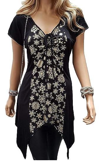 caa02d649f9 holidaysuitcase Plus Size Ladies Christmas Snowflake Evening top   Amazon.co.uk  Clothing