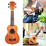 GPCT [21 INCH] Sapele Ukulele Hawaiian Uke W/ Matte Finish. 4 Strings, 12 Frets, Clear Tone, Suitable for Beginners & Professionals. Great for Parties, Formal Occasions, Home (Brown)