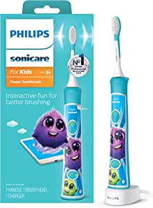 Philips Sonicare HX6321/02 Sonicare for Kids Rechargeable Electric Toothbrush, Blue