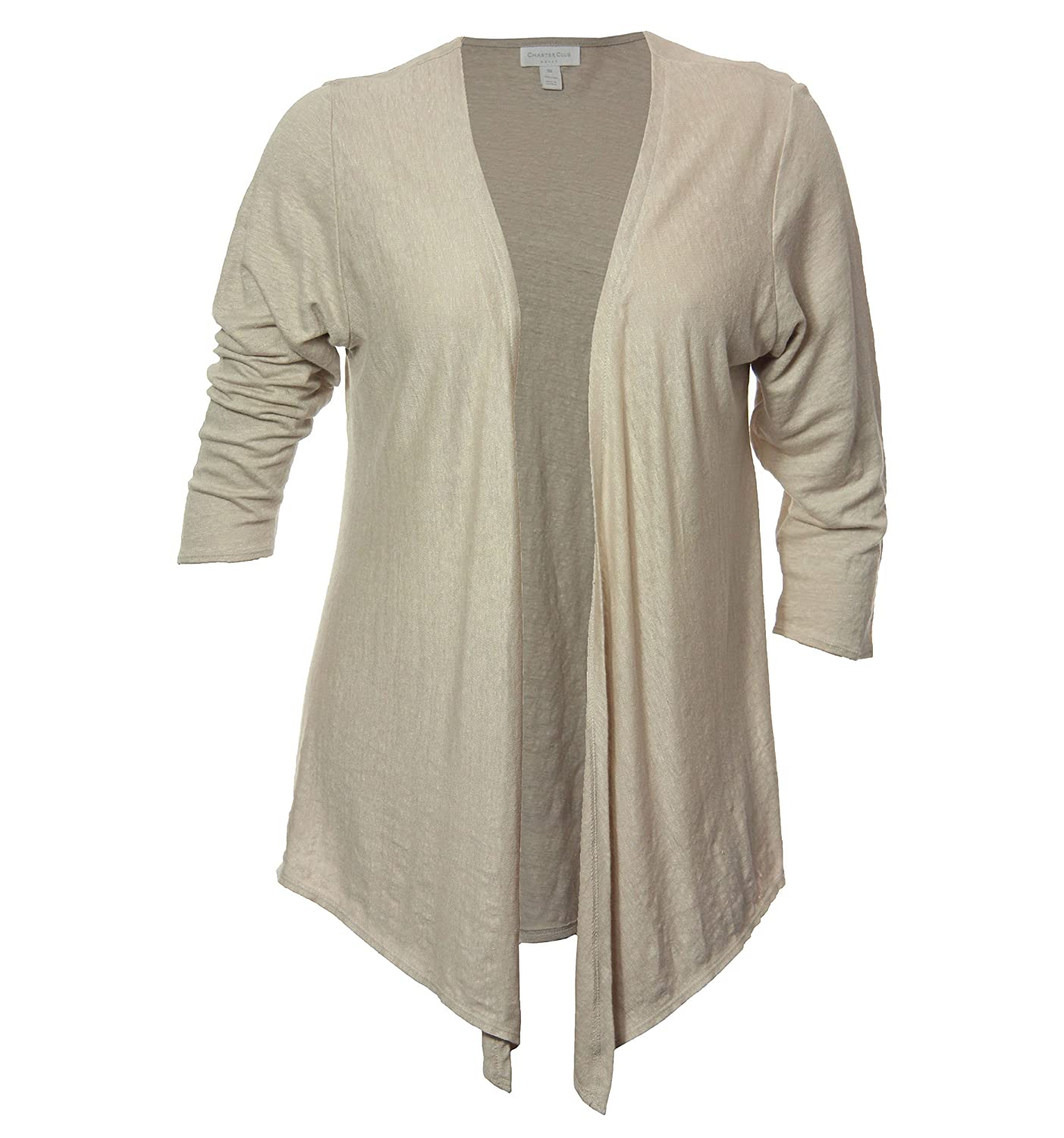 Charter Club Women's Plus Long Sleeve Open Front Linen Cardigan Shrug Sand (3x)