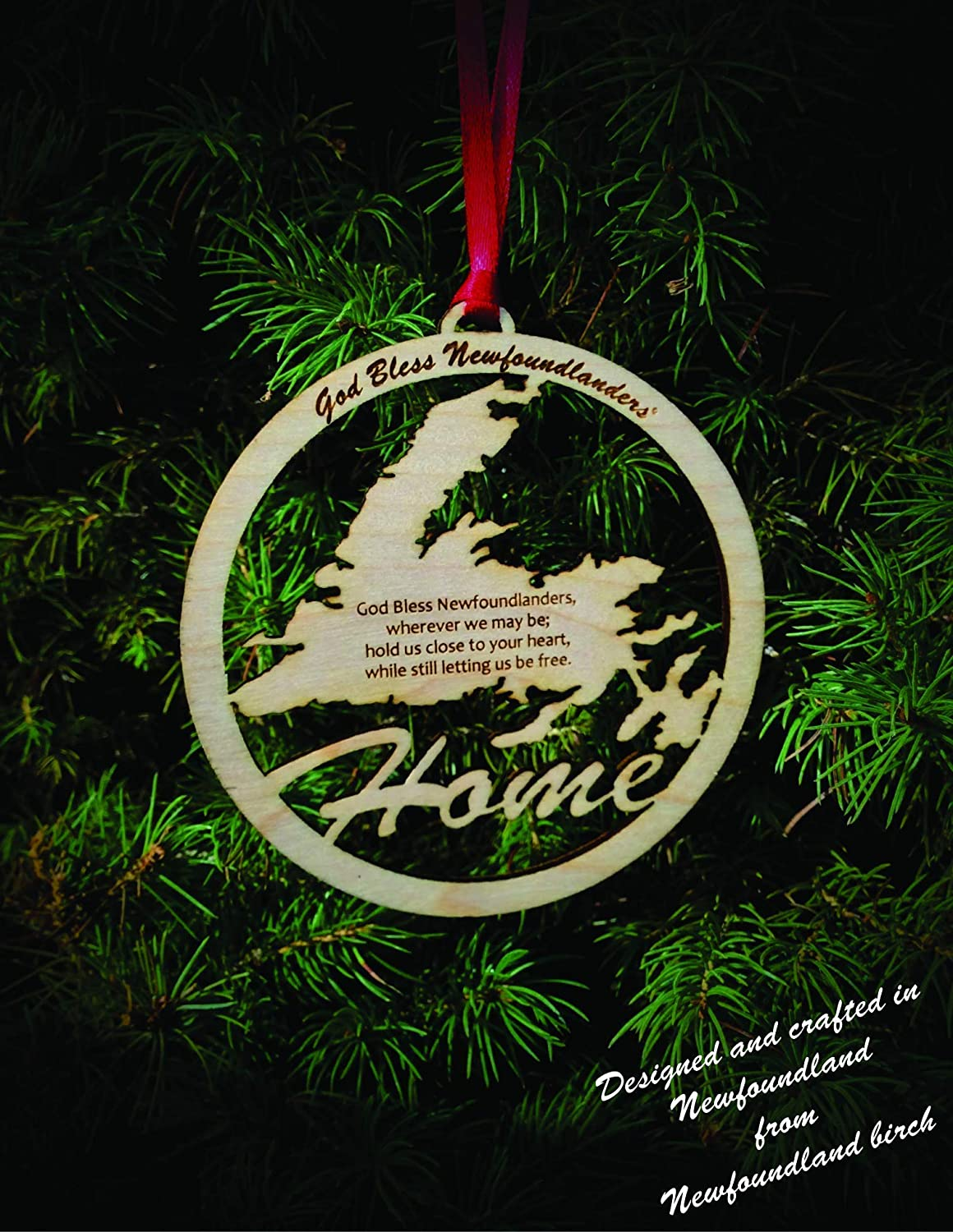 'God Bless Newfoundlanders' Wood Laser-cut Ornament