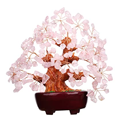 7 Inch Pink Crystal Feng Shui Money Tree Natural Rose Quartz Gem Stone Money Tree