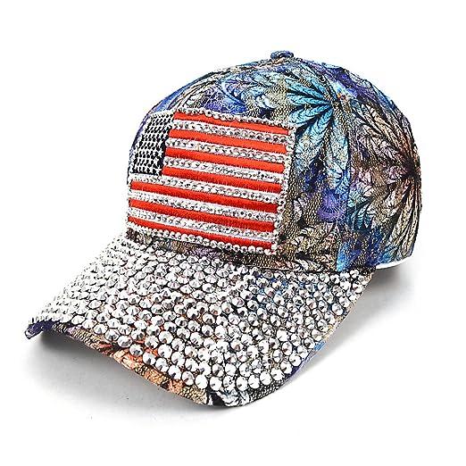 f4dba9304f3 American Flag Bling Stud Blue Flower Baseball Cap at Amazon Women s ...