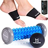 Foot Massager Roller Ball & Arch Support - Relieve Plantar Fasciitis, Foot Arch Pain, Heel, Muscles, Stress, Flat Feet, High Arches - via Relaxation Reflexology Acupressure & Copper Compression Braces