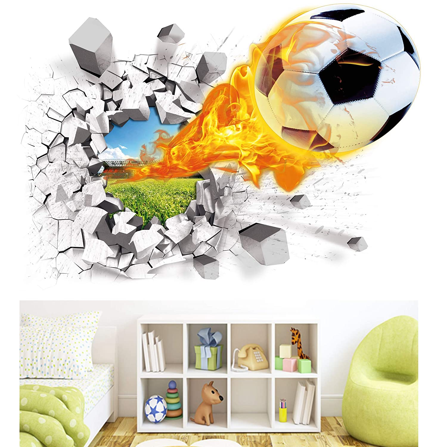 Soccer Wall Decals 3D Flame Soccer Ball Wall Decor Art Removable Vinyl Soccer Wall Stickers Football Sports Wall Murals Decorations Basketball D/écor Poster as Birthday Gifts Kids/' Rooms and Nursery Test-Rite 354756