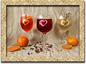 Cocktails Fruits Oranges Wall Art Decor Picture Painting Poster Print on Fine Art Paper Panels Pieces - Wine Theme Wall Decoration Set - Drinks Wall Picture for Kitchen 12 by 16 in