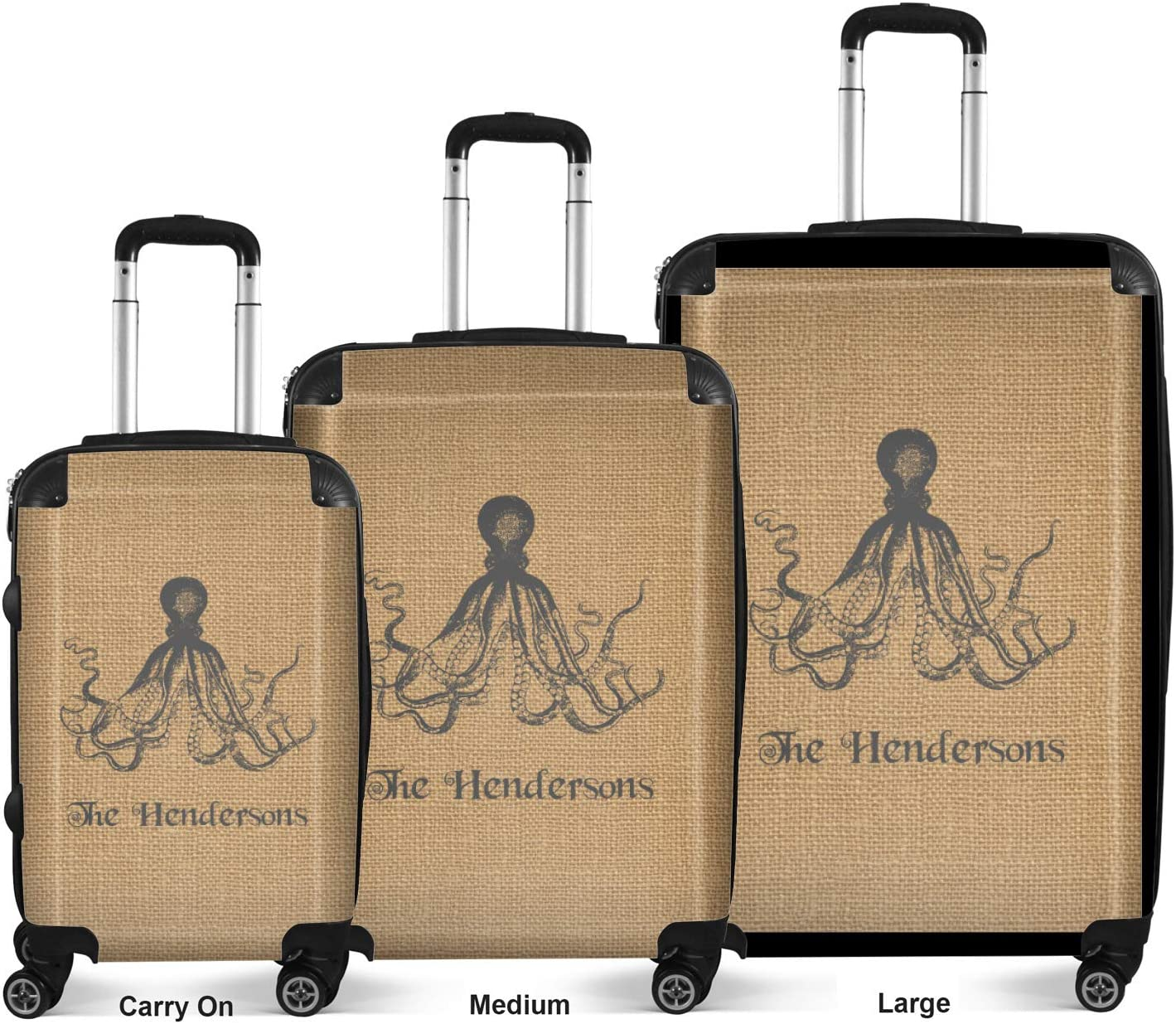 Personalized Octopus /& Burlap Print Suitcase 20 Carry On