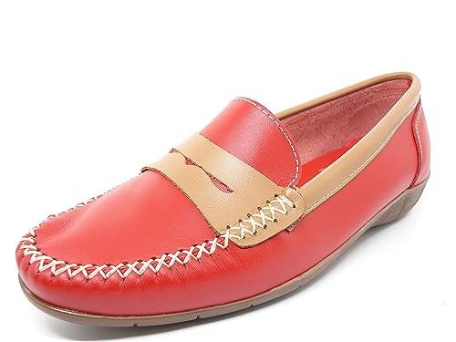 Zapato mujer casual mocasin marca DELTELL en piel Rojo banda antifaz ...