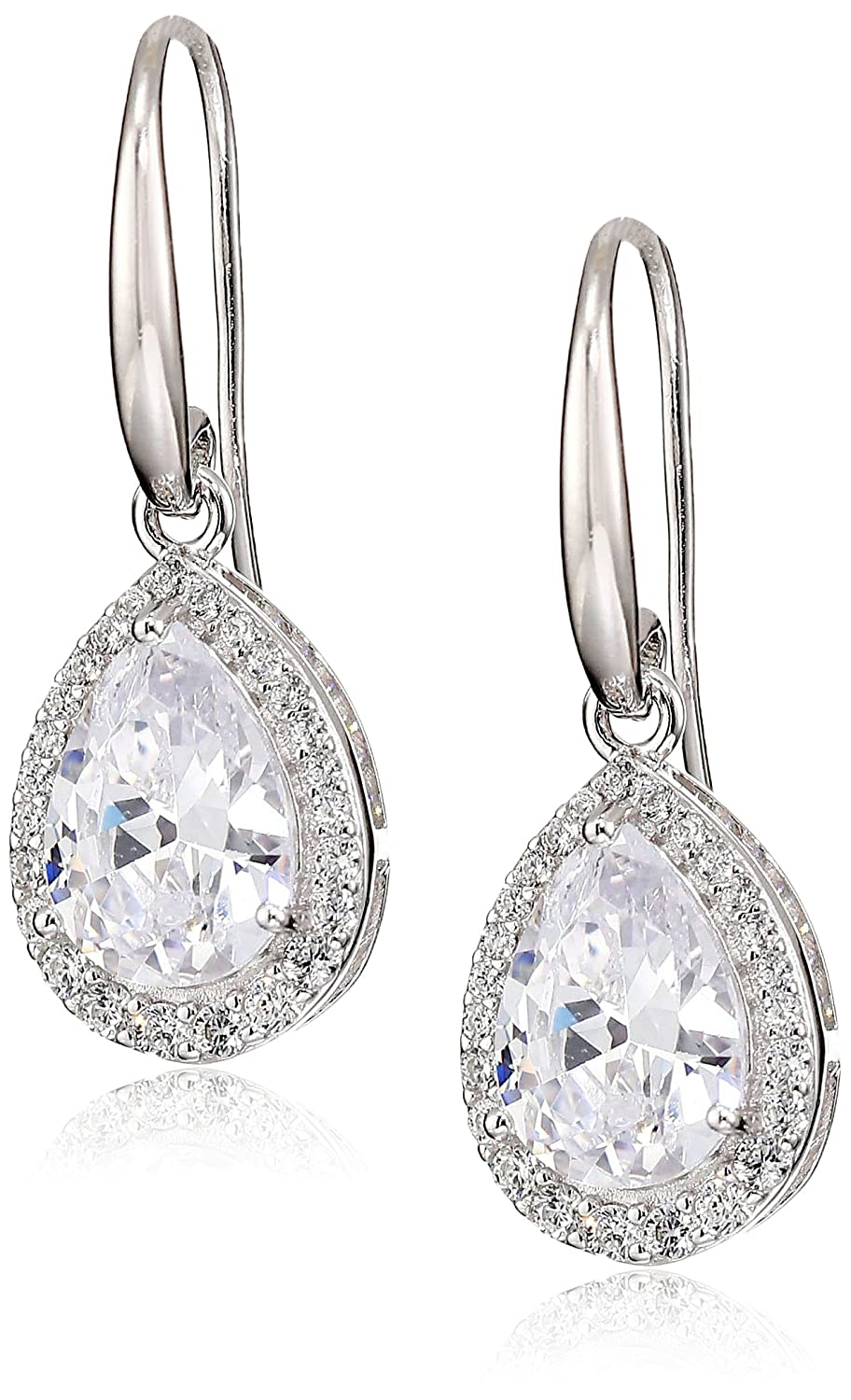 Rhodium Plated Sterling Silver Cubic Zirconia Pear-Shape Halo Dangle Earrings (6.6 cttw) Amazon Collection R2AH4V0001